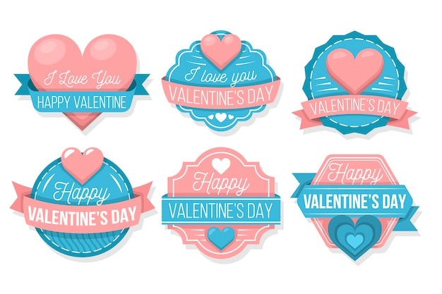 Colorful valentine's day label collection