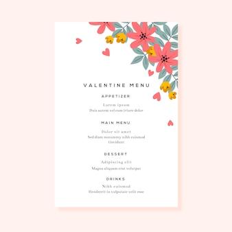 Colorful valentine's day menu template