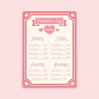 Colorful valentine's day menu template