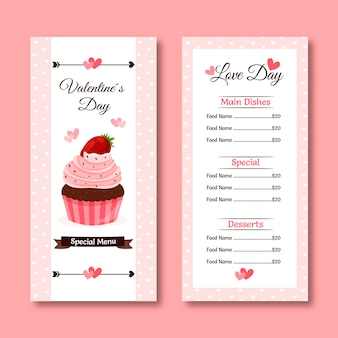 Colorful valentine's day menu