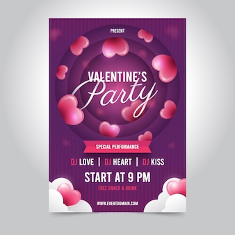 Colorful valentine's day party flyer template