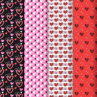 Colorful valentine's day pattern collection in flat design