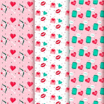 Colorful valentine's day pattern collection