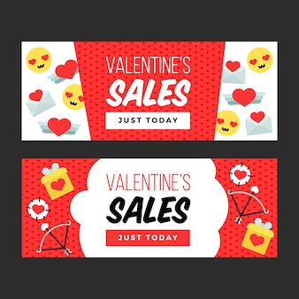 Colorful valentine's day sale banners