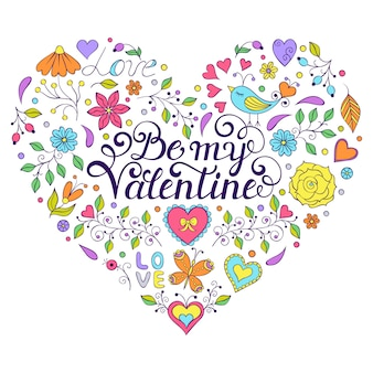 Colorful valentines card with hearth shape