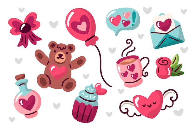 Colorful valentines day element collection