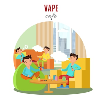 Colorful vape cafe concept