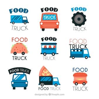 カラフルな楽しい食品トラックのロゴ