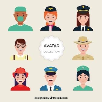 Varietà variegata di avatar di posti di lavoro smiley