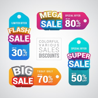 Colorful various sale discount sticker