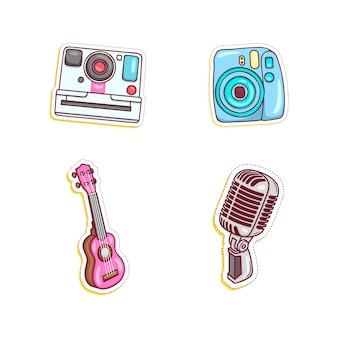 Colorful and various sticker set illustration