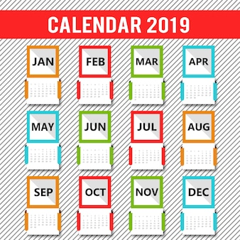 Colorful Vector 2019 Calendar Design