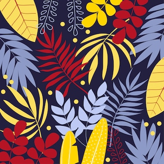 Colorful vector background with tropical leaves