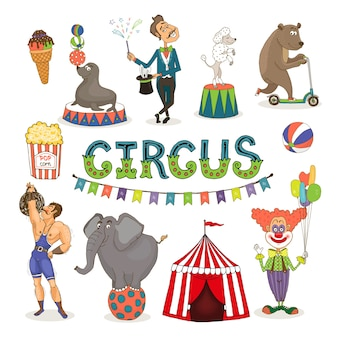 Colorful vector circus  funfair and fairground icon set with an ice cream