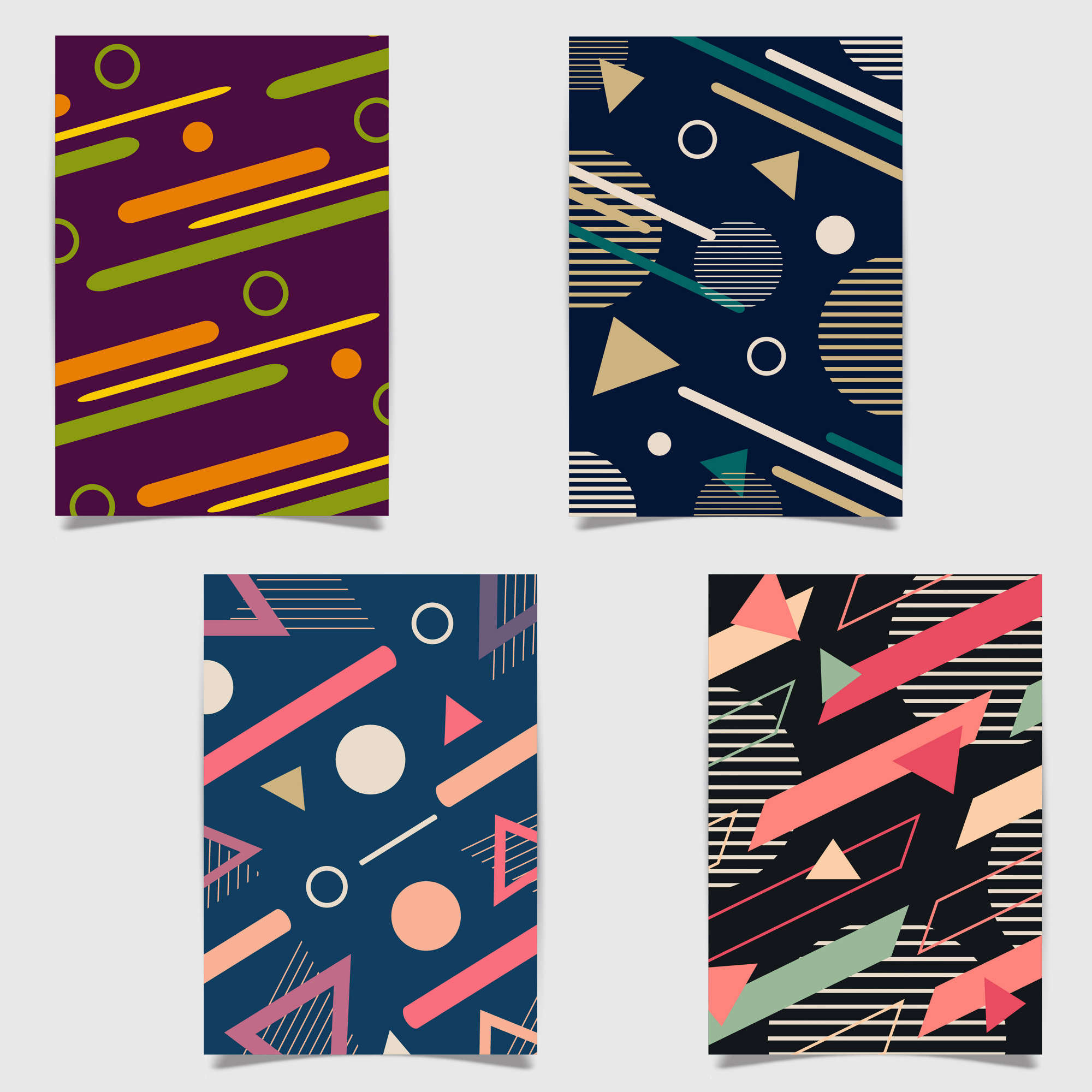 Colorful Vector Creative Memphis Design Cards