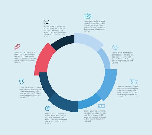 워크플로 레이아웃, 다이어그램, 숫자 옵션, 웹 디자인, 인포그래픽을 위한 다채로운 벡터 디자인. 파이 차트