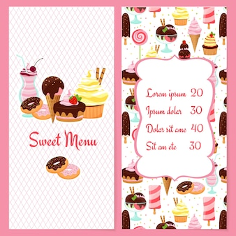 Menu di dessert colorato vettoriale per ristoranti con un listino prezzi incorniciato circondato da dolci e dolci caramelle gelato su una metà e il testo menu dolce sull'altra