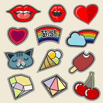 Colorful vector embroidery patches set