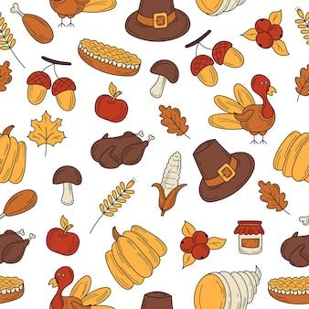 感謝祭の秋のテーマのオブジェクトやシンボルのカラフルなベクトル手描き落書き漫画パターン。白色の背景。