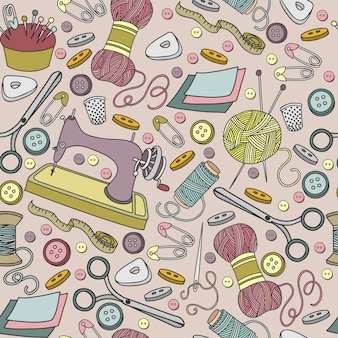 Colorful vector hand drawn seamless pattern of object hand made cartoon doodle