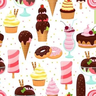 아이스크림 콘 아이스크림과 체리 컵 케이크와 사각형 형식의 밀크 쉐이크와 파르페 디저트 도넛 케이크 다채로운 벡터 아이스크림과 과자 원활한 배경 패턴