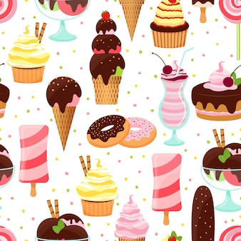 Colorful vector ice cream and sweets seamless background pattern with ice cream cones  sundae and parfait desserts  doughnuts  cake with cherries  cupcakes  and milkshake in square format