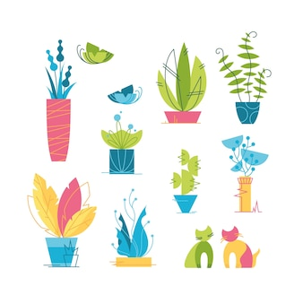 Набор красочных векторных иконок комнатных растений, кактусов и творческих элементов цветочного дизайна.