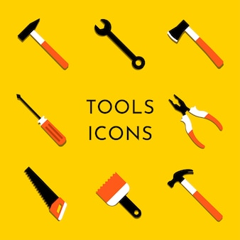 Colorful vector icons set with home repair and work tools