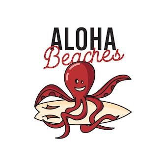 Colorful vector illustration of cheerful cartoon octopus with surfboard and aloha beaches inscription for creative summer travel and tourism concept designs