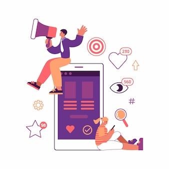 Красочные векторные иллюстрации мужчины-менеджера с громкоговорителем, делающего объявление, пока молодая женщина просматривает устройство во время рекламной кампании в социальных сетях