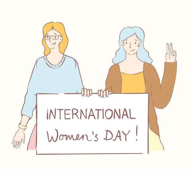 Colorful vector illustrations concept of happy womans internarional day  happy female friends union ...