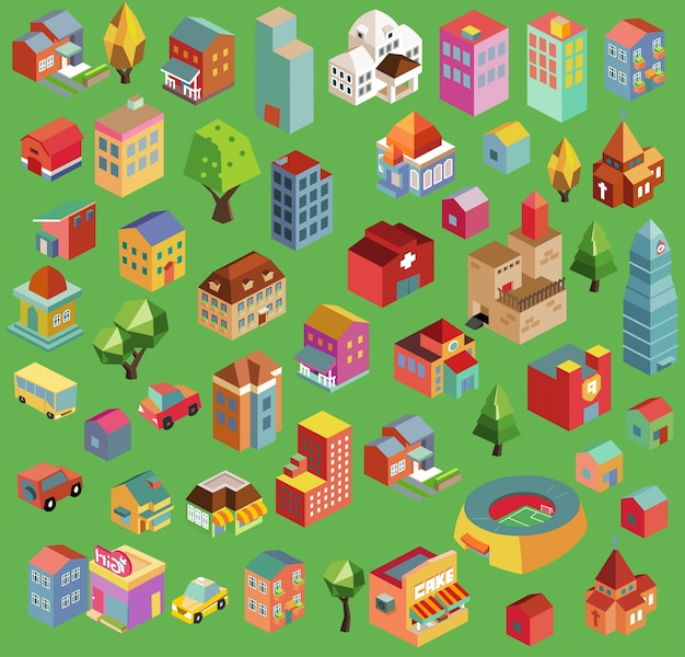 Colorful vector isometric buildings