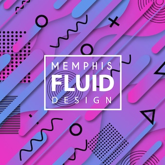 Colorful vector memphis fluid background
