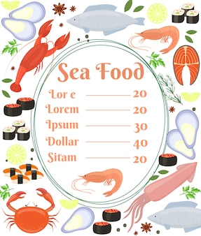 Colorful vector seafood menu poster with a central frame with text and a shrimp surrounded by fish  cuttlefish  calamari  lobster  crab  sushi  shrimp  prawn  mussel  salmon steak and herbs