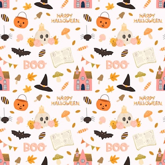 Colorful vector seamless pattern for halloween in hand drawn style.