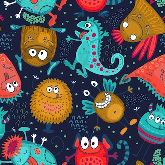 Colorful vector seamless pattern with funny monsters cute endless background Premium Vector
