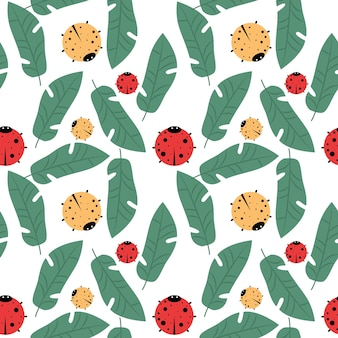 Colorful vector seamless pattern with ladybugs and leaves