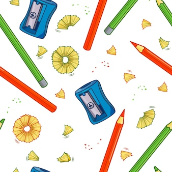 Colorful vector seamless pattern with sharpener and pencils. isolated background. for your design