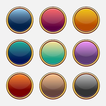Colorful vector set of game blank slots. elements for mobile applications. options and selection windows, panel settings.