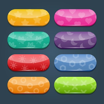 Colorful vector set of game buttons and frames. elements for mobile applications. options and selection windows, panel settings.