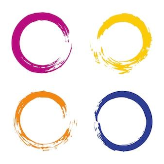 カラフルなベクトルは、フレーム、アイコン、バナーデザイン要素のための虹円の筆のストロークで設定します。