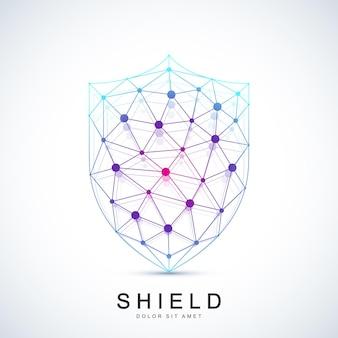 Красочный значок щита шаблона вектора. значок защиты логотип. креативный дизайн концепции безопасности.