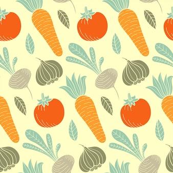 ニンジン、トマト、カブ、大根などのカラフルな野菜のシームレスなパターン。有機食品手描きの背景。