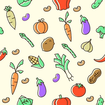 Colorful vegetable seamless pattern