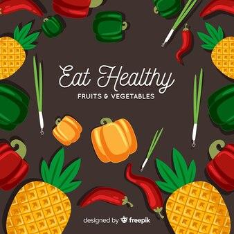 Красочные овощи и фрукты фон