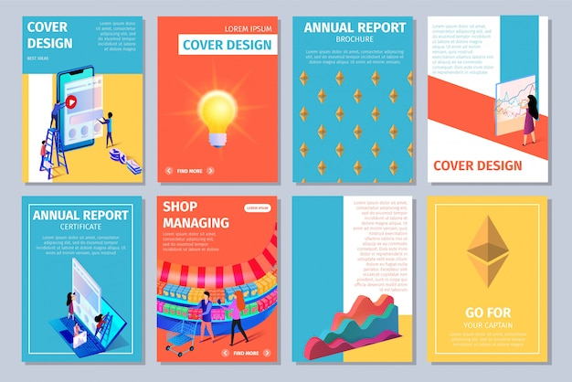 Colorful vertical cover design set with copy space