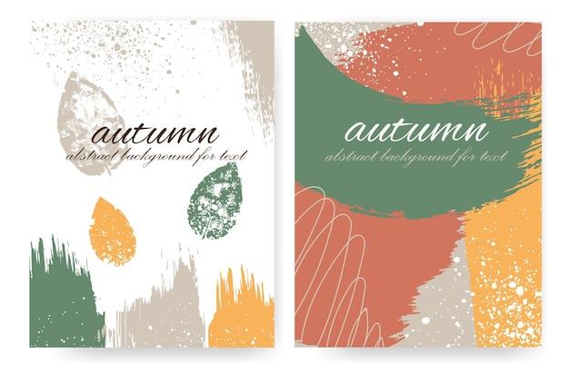 Красочные вертикальные планировки с осенним оформлением в стиле гранж. мазки и осенние листья. вектор