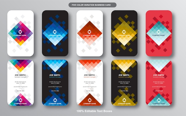 Colorful vertical modern business card bundle
