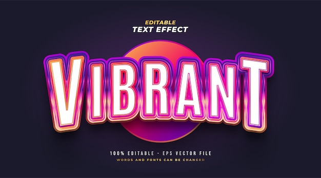 Colorful vibrant text with retro style and embossed effect. editable text style effect