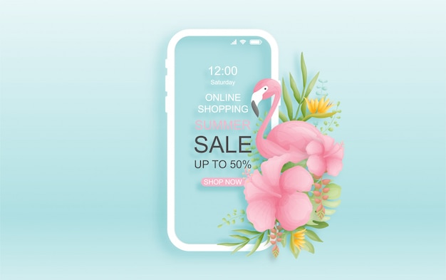 Colorful and vibrant tropical online summer sale background design with bird, palm leaves and flowers.